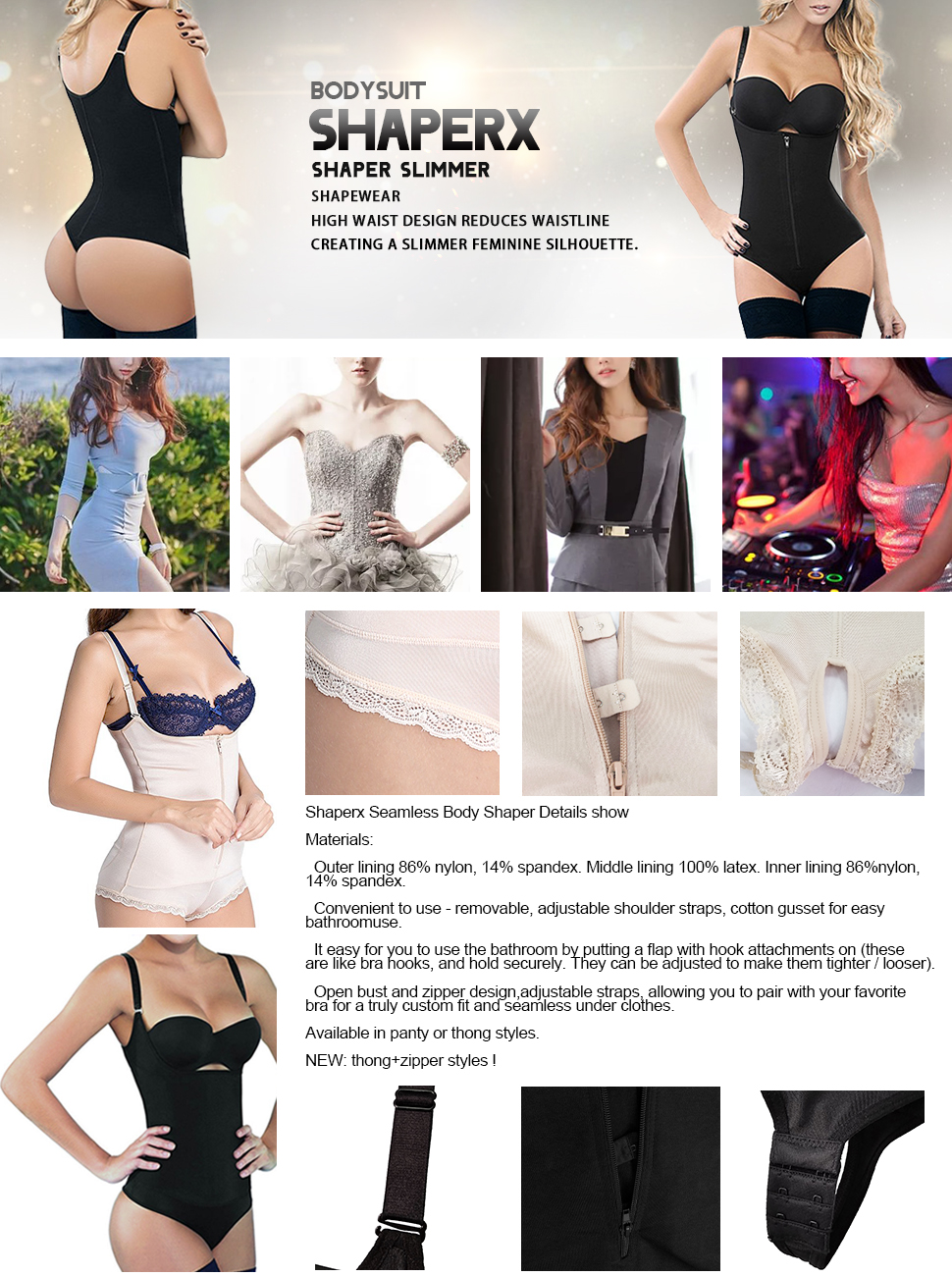 b8e0393f5d SHAPERX Seamless Firm Control Shapewear Open bust Bodysuit Body Shaper
