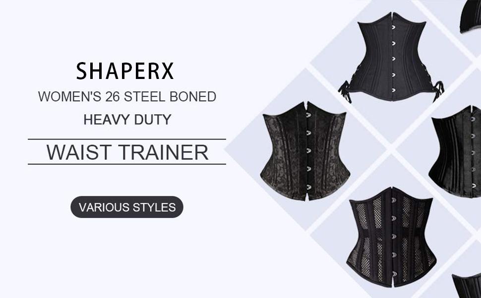 SHAPERX Womens 26 Steel Boned Corset Short Torso Heavy Duty Waist Trainer Corset for Weight Loss