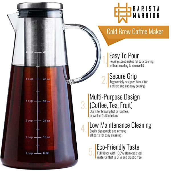 Amazon.com: COLD BREW COFFEE MAKER - LARGE 1.5 Quart | 48 ...