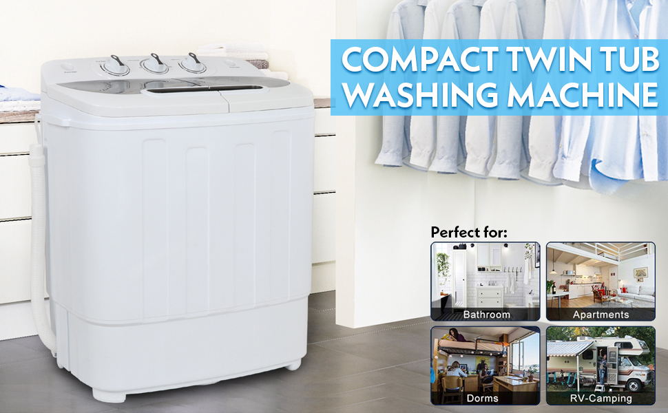 13Lbs Capacity w//Hose ZENY 2-in-1 Compact Mini Twin Tub Washing Machine w//Spin Cycle Dryer Space//Time//Energy Saving
