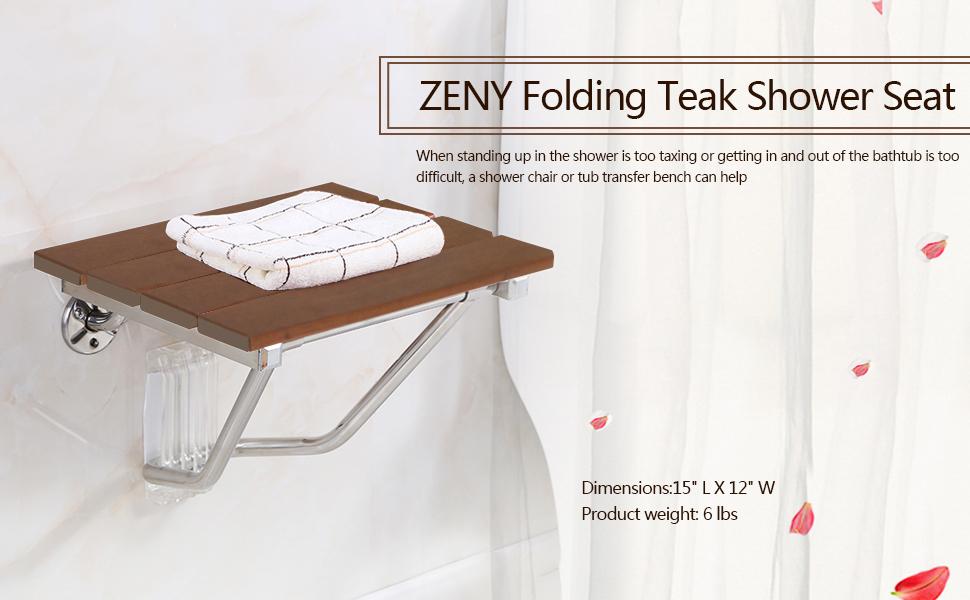 Amazon.com: ZENY Wall Mounted Bath Shower Bench Seat Folding ...
