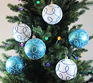 winter turquoise swirl shatterproof 315 80mm christmas ball ornaments decorations set of 6 with storage box