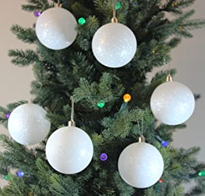 white snowball shatterproof 315 80mm christmas tree ornament set of 6 with storage box
