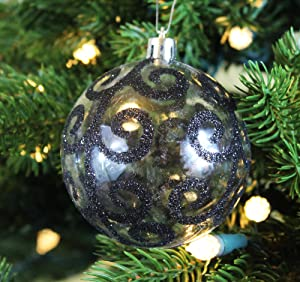 Transparent Black Swirl Clear Shatterproof 315 80mm Christmas Ball Ornaments Decorations