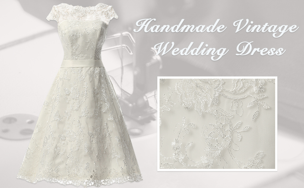 JAEDEN Vintage Lace Wedding Dress Short Bridal Gown Knee Length ...
