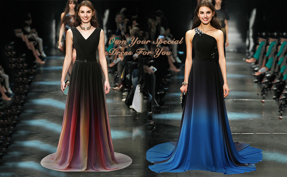 Jaeden Gradient Chiffon Formal Evening Dresses Long Party Prom Gown