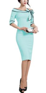Women's 1950s Slim Half Sleeve Wear to Work Casual Office Pencil Dress ladies 60s 40s 70s 30s dress