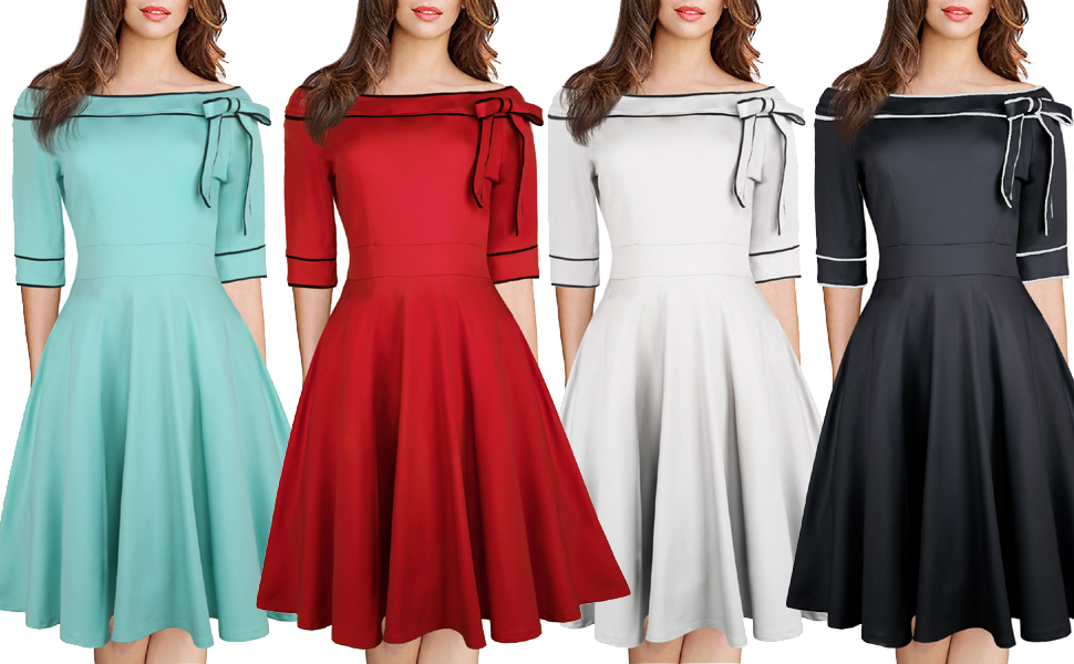Women's Casual Off Shoulder Pocket Bowknot Rockabilly Swing Vintage Cocktail Party Dress