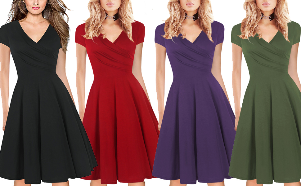 Women`s Vintage Casual Round Neck Floral Tunic Work Party A-Line Swing Dress with Pockets ladies 50s