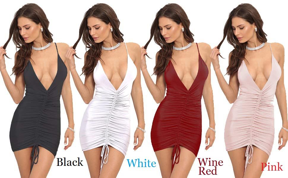Women's Elegant Sexy Spaghetti Straps Deep V Neck Sleeveless Bodycon Club Party Dress  ladies dress