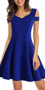 Women's Casual Elegant Cold Shoulder Party Dress Sweetheart Neckline A Line Work Swing Dresses