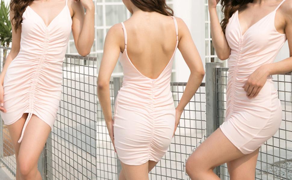 Women's Elegant Sexy Spaghetti Straps Deep V Neck Sleeveless Bodycon Club Party Dress