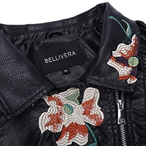 Beautiful embroidery floral print jacket coat. With embroidery detailing designed. Short pu leather motorcycle jacket outwear