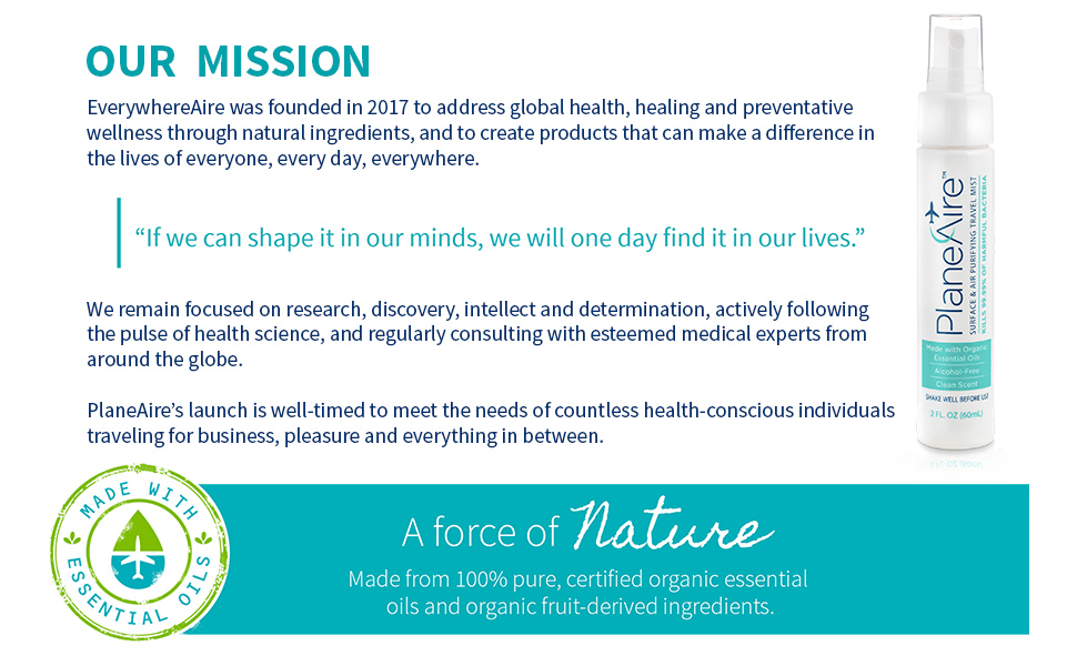 planeaire mission, everywhereaire llc mission, natural organic sanitizer
