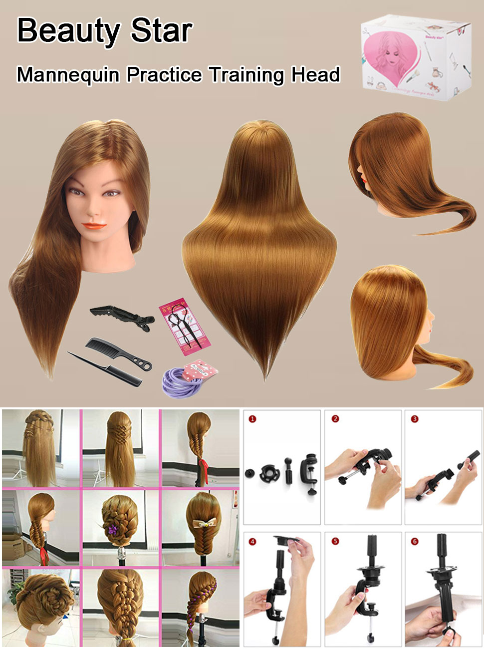 Hearty Synthetic Mannequin Head Female Hair Head Doll 22 Inches Mannequin Doll Head Hairdressing Training Heads Styling With Fiber Hair Extensions & Wigs Tools & Accessories