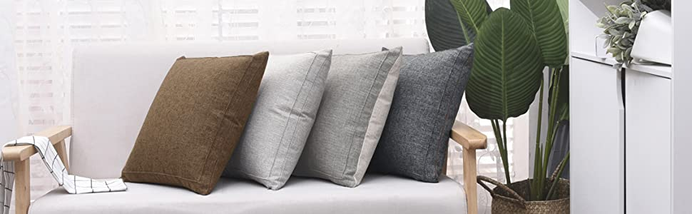 Jepeak Burlap Linen Throw Pillow Case Cushion Cover Farmhouse Decorative Solid Square Pillowcase