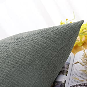 Jepeak Comfy Rattan Weaved Pattern Cotton Linen Throw Pillow Covers