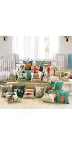 Jepeak Burlap Linen Throw Pillow Case Cushion Cover Farmhouse Decorative Solid Square Pillowcase