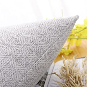 Jepeak Rhombus Pattern Cotton Linen Throw Pillow Covers