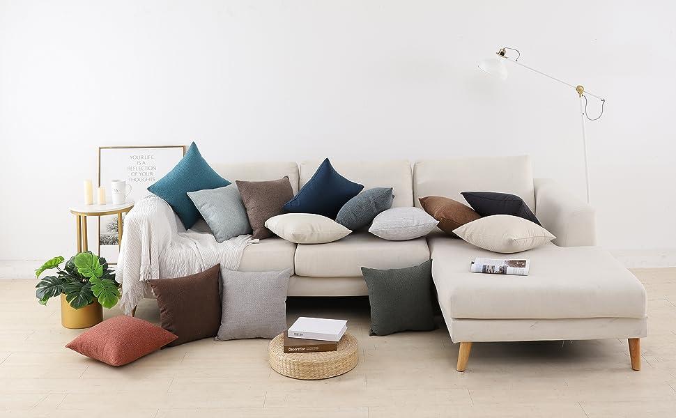 Jepeak Rhombus Pattern Cotton Linen Throw Pillow Covers