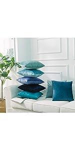Jepeak pack of 2 solid velvet super soft throw pillow covers