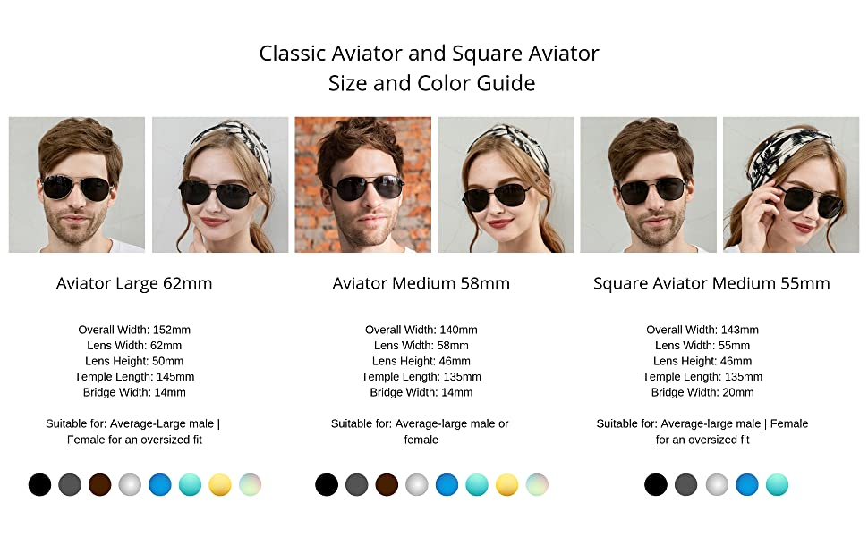 J+S Vision Classic Aviator Square sunglasses size guide large medium models real life