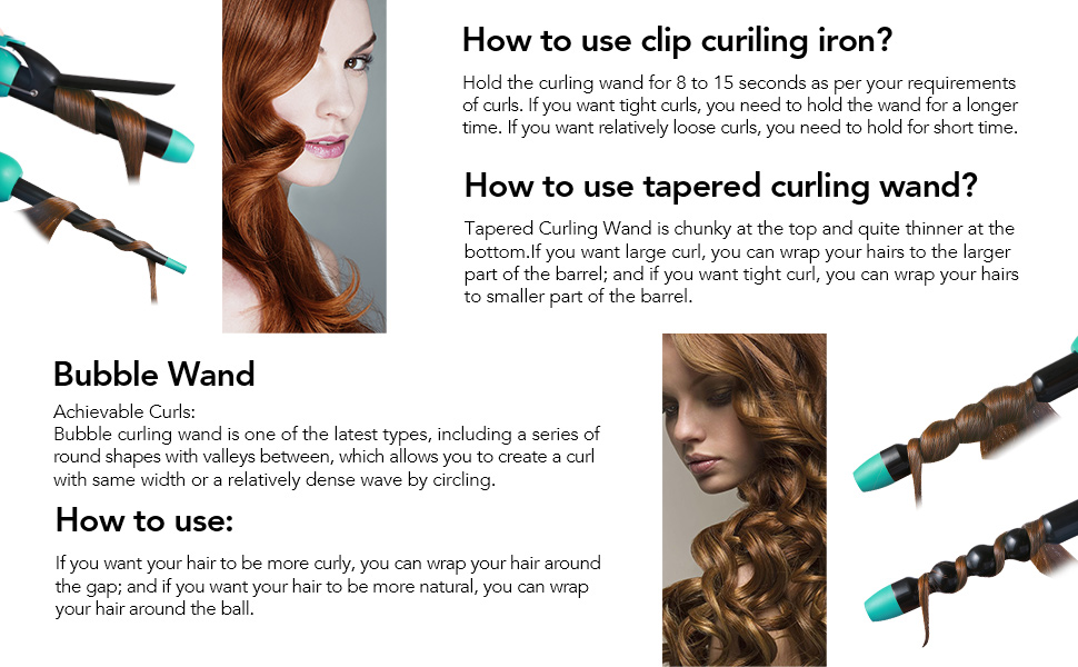 Amazon com: Entil 5 in 1 Curling Iron Wand Set with 5