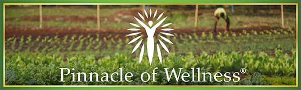 Pinnacle of Wellness Logo in front of an organic superfood vegetable garden with man tending it