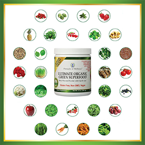 Ultimate Organic Green Superfood surrounded by images of all 30 of its Organic Superfood Ingredients
