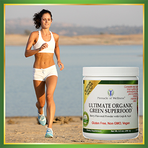 Healthy, happy and fit woman running on beach and large image of Ultimate Organic Green Superfood