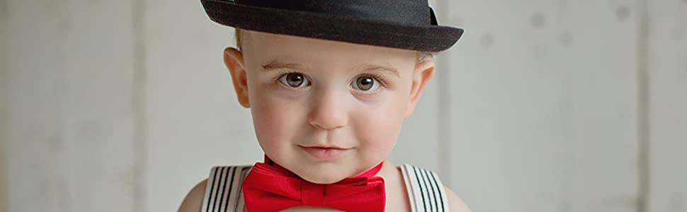 kids red bow tie pre tied adjustable wedding prop accessories for children holiday party birthday