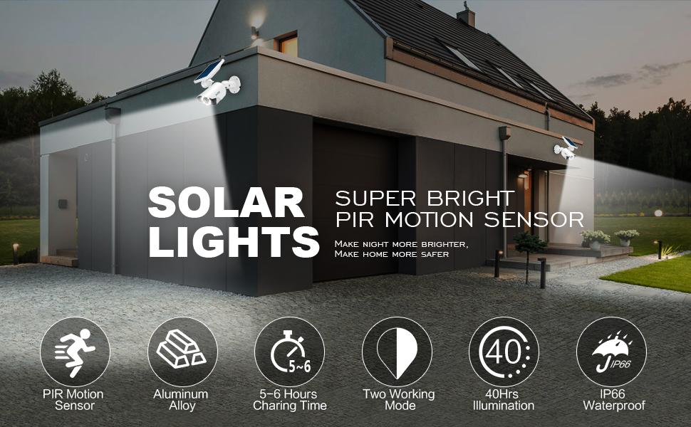 Jard/ín 270 /° Cabezales Ajustables Luz de Pared a Prueba de Agua IP65 Terraza 42 LED 550LM FOLUR Luz Solar para Exteriore de Seguridad con Sensor de Movimiento Adecuada para Balc/ón Garaje,Porche