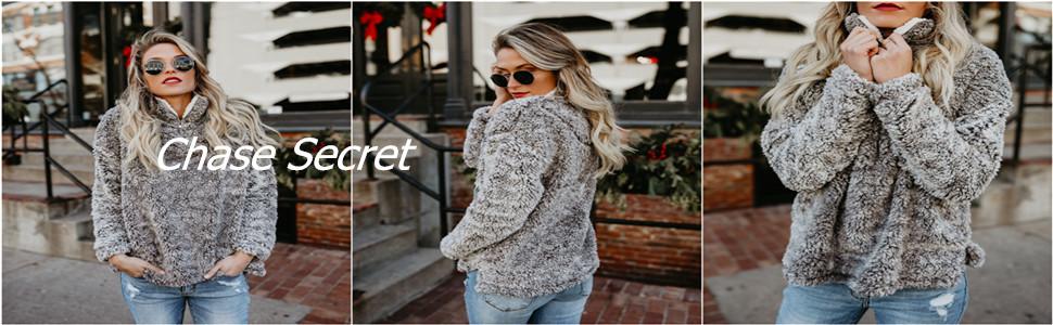 Fashion Oversize Fluffy Fleece Sweatshirt Pullover Outwear