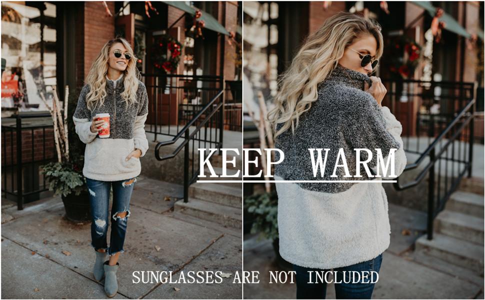 Contrast Color Soft Collar Pullover Winter Warm Fleece Sweatshirts