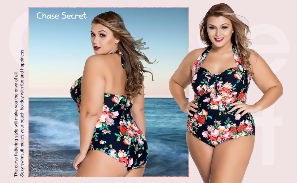fb8b987d51b Chase Secret Womens One Piece Swimwear Retro Vintage Floral Monokini ...