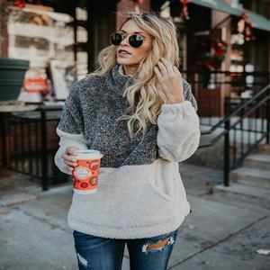 Long Sleeve Half Zip Fuzzy Fleece Pullover Jacket Outwear Sweatshirt Tops Coat with Pocket