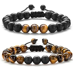 Hamoery Men Women Gifts Bracelet Braided Rope Natural Tiger Eye Stone Yoga Bracelet Bangle-21018