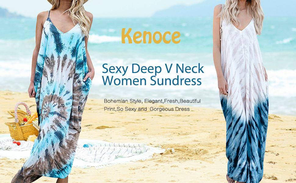 6ac5593e19 Kenoce Women Casual Long Sundress Boho Strap Dress Floral Spaghetti Dress V  Neck Maxi Summer Beach Dress with Pockets