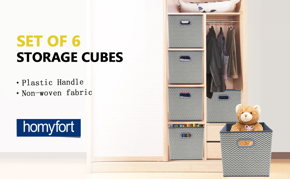 Homyfort Cloth Storage Cubes With Dual Plastic Handles,Heavy Duty Bins