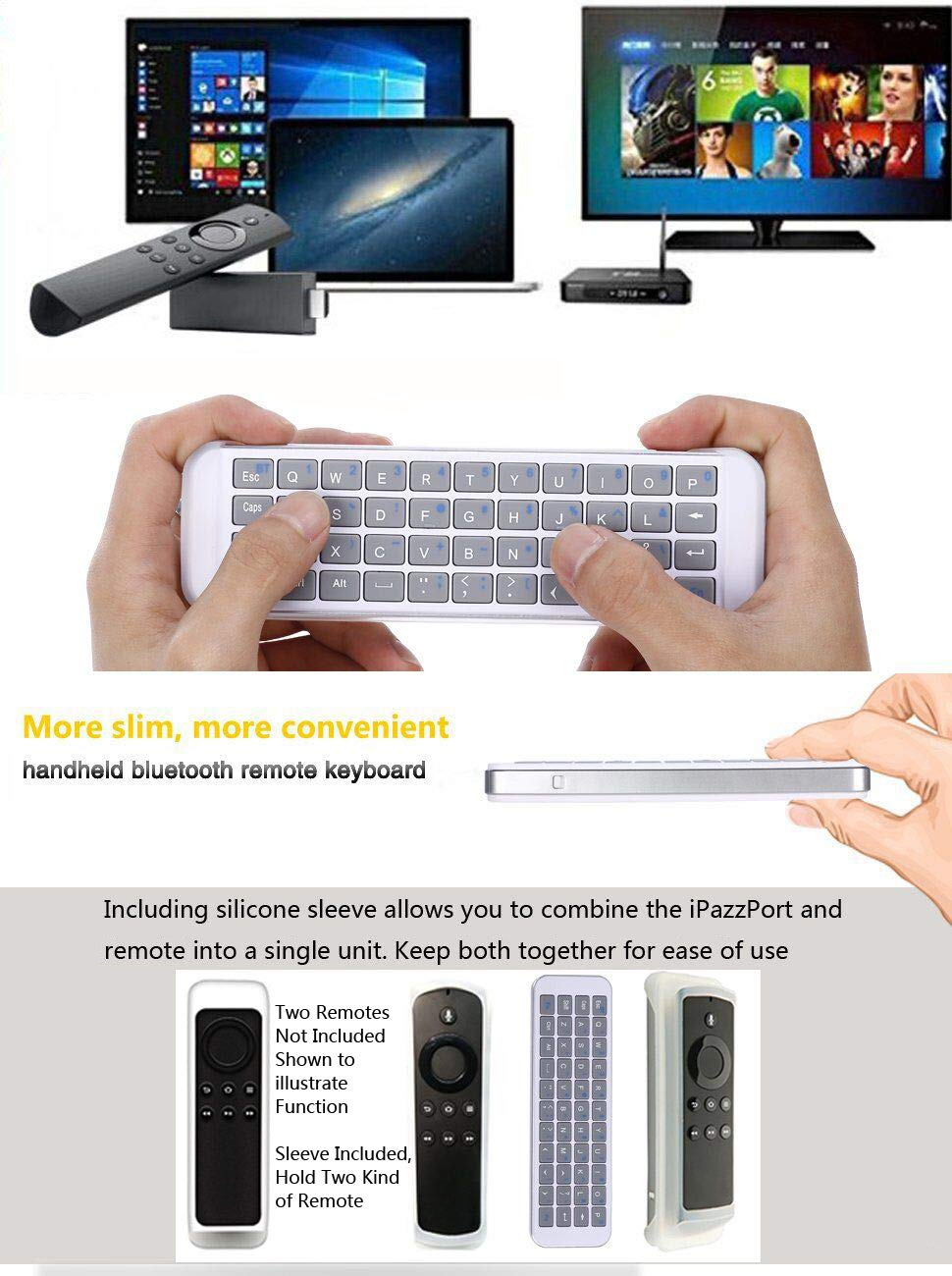 d872bf79b001a3 Amazon.com: iPazzPort Mini Bluetooth Keyboard for Smart TV, Android ...