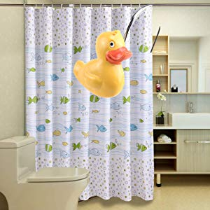 AGPTEK 12PCS Home Fashions Yellow DUCK Anti Rust Decorative Ducky Resin Hooks for Bathroom Shower Curtain,Bedroom,Living room Curtain HS0050-MBEU