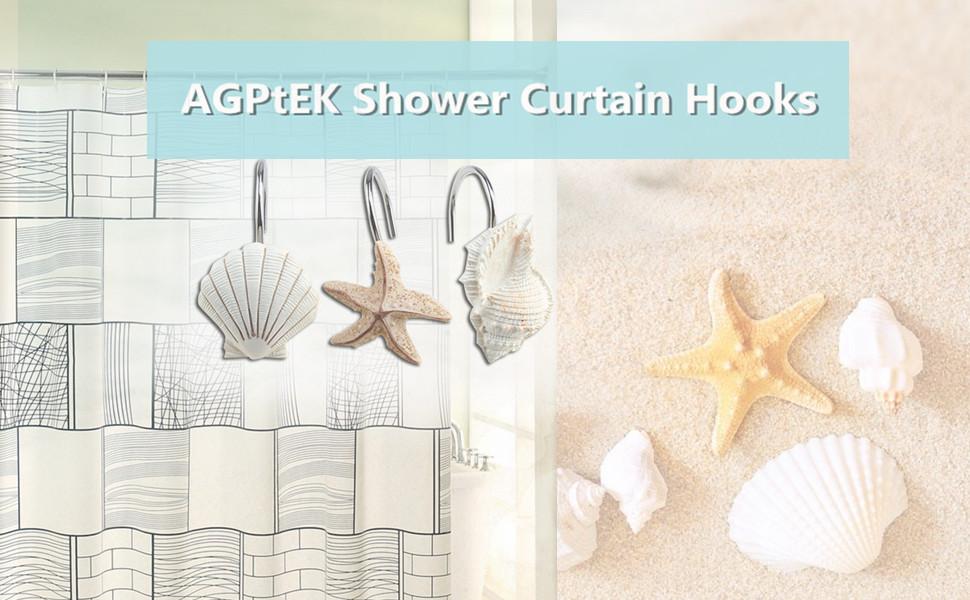 Amazon.com: Shower Curtain Hooks, AGPtek 12PCS Anti Rust ...