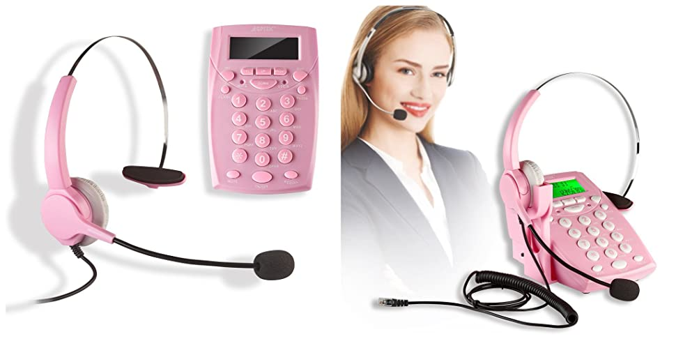 agptek call center dialpad corded headset pink telephone with tone dial key pad. Black Bedroom Furniture Sets. Home Design Ideas