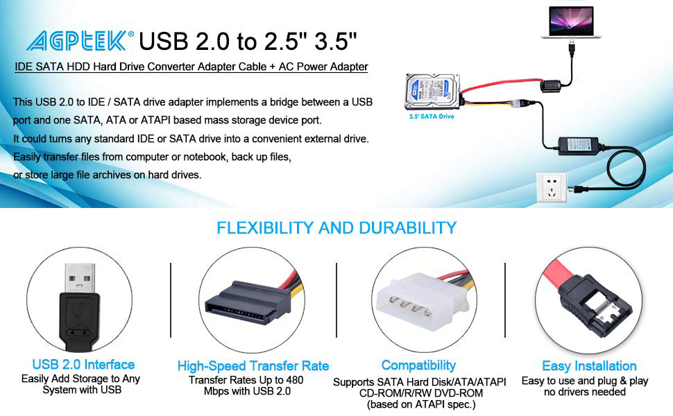 Amazon.com: AGPtek SATA/PATA/IDE Drive to USB 2.0 Adapter Converter on sata to usb data transfer, usb mouse wiring diagram, usb pinout diagram, usb camera wiring diagram, usb connector diagram, usb connection wiring diagram, sata to usb plug, usb hub wiring diagram, sata to usb cable, usb 3.0 wiring diagram, ccd camera wiring diagram, sata to usb pinout, usb headset wiring diagram,
