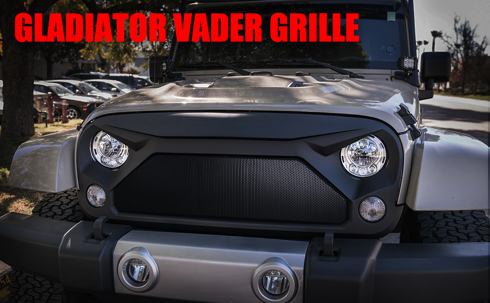 8161576e21285 Xprite Gladiator Vader Grille Grill with Mesh for 2007-2018 Jeep ...