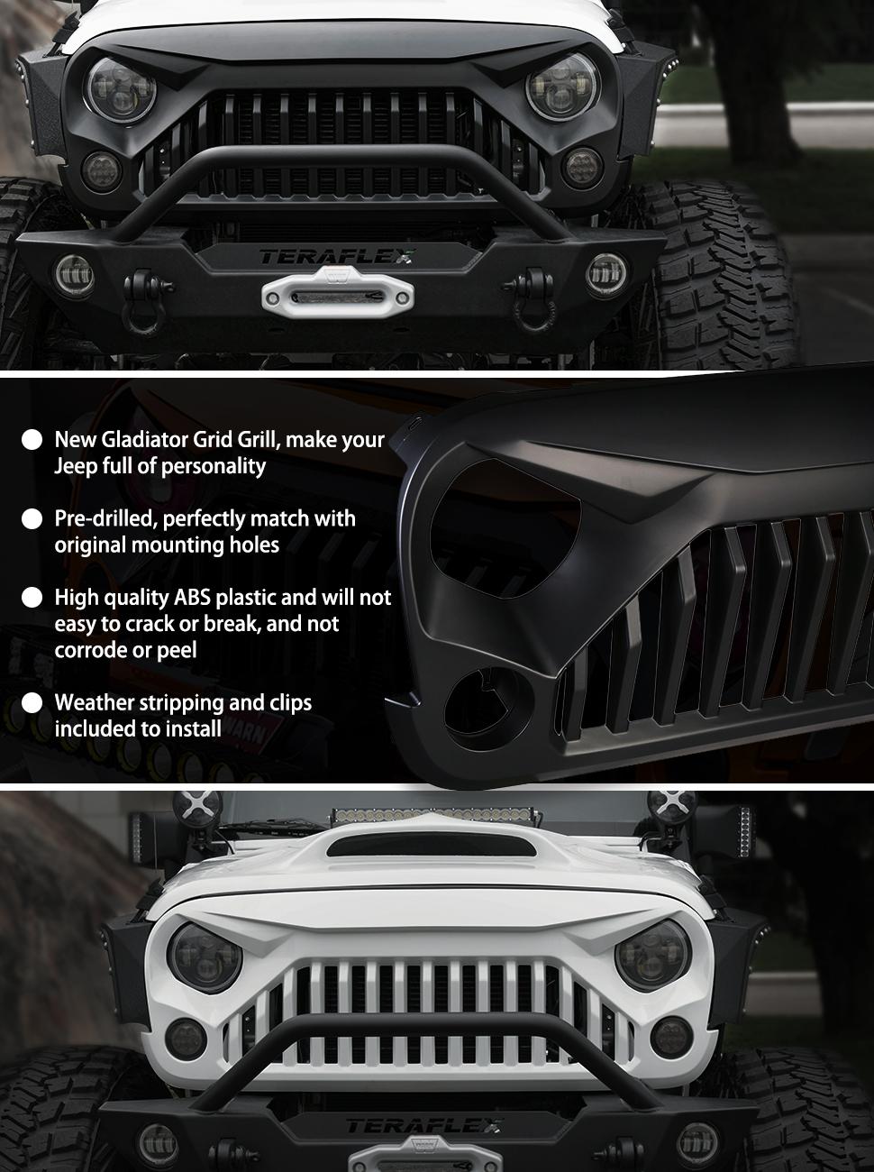 2016 Jeep Gladiator >> Amazon.com: Xprite Gladiator Vader Front Matte Black ...