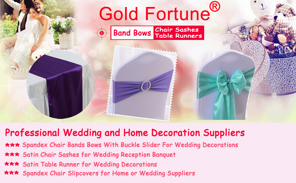 Amazon Gold Fortune 50pcs Stretch Wedding Chair Bands With