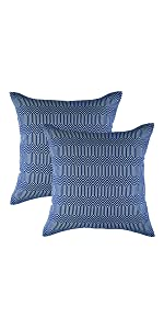 TreeWool Navy Blue Throw Pillow Cover - Greek Key