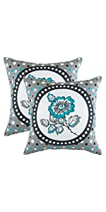 TreeWool Navy Blue Throw Pillow Cover - Polka Floral