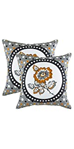 "TreeWool Throw Pillow Cover Polka Botany Accent (18"" x 18"", Orange) - Pack of 2"